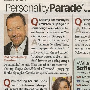 Bryan Cranston in Walter Scott's  Personality Parade - August 2010